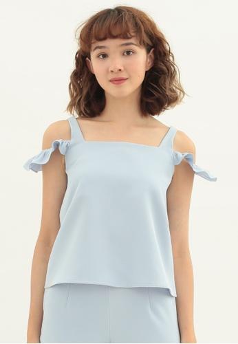 Love Knot blue Clover Cold Shoulder Sleeveless Top (Blue) 4FD28AA3F763C2GS_1