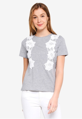 7180532e75 Buy Dorothy Perkins Grey Lace Front T-Shirt Online on ZALORA Singapore
