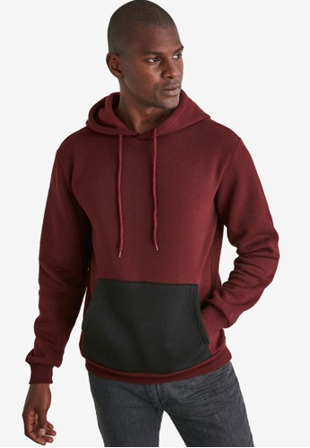 Trendyol red Basic Color Block Hoodie D661FAA4E58874GS_1