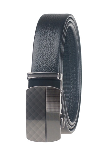 FANYU black Men Slide Buckle Automatic Ratchet Full Grain Leather Belt FA549AC24ZLRSG_1