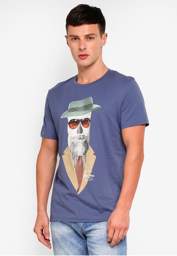 Jack & Jones 藍色 短袖印花T恤 ECC5BAAB786F2FGS_1