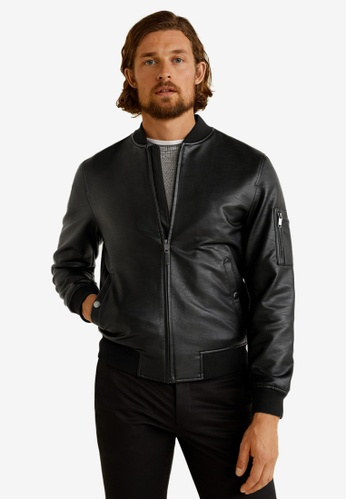 332587ae4 Faux-Leather Bomber Jacket