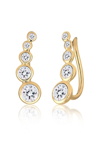 Elli Germany gold Elli Germany Earrings Ear Cuff Circle Geo Swarovski Crystals 925 Silver Gold Plated 8C0D7AC5CA826DGS_1