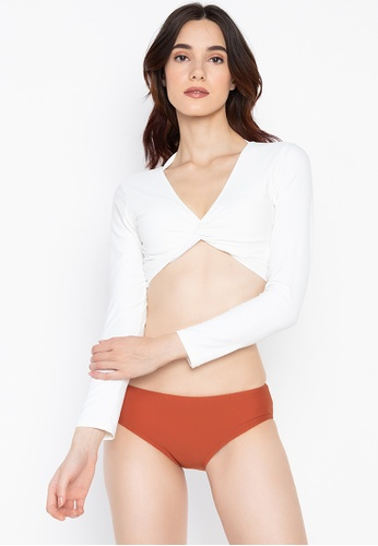 Chase Fashion white and brown Swimsuit Set with Twist Tie Crop Top 7EA89USEBFE1C9GS_1