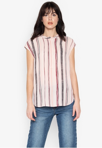 f13367b515399 Shop WAREHOUSE Short Sleeve Drawn Stripe Blouse Online on ZALORA ...