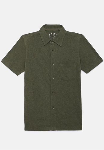 ZALZA green Mike 100% Organic Cotton Boys Full Open Short Sleeve Tee - Olive 08FC3KA5D3AA2AGS_1