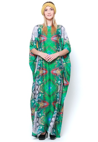 Kanzi by liza yahya green and multi Kanzi Exclusive Short Sleeve Abstract Kaftan A5A39AA4F2FFB0GS_1