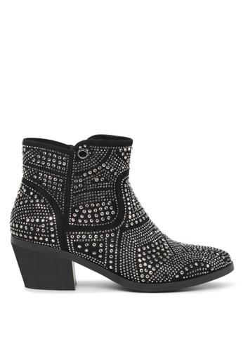 London Rag black Studded Ankle-Length Boots SH1704 0AE9BSH330955BGS_1