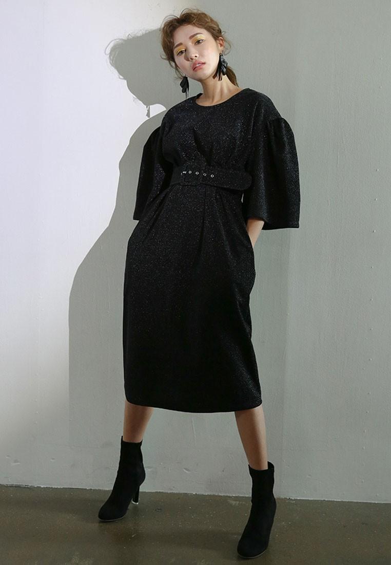 K Style Belted Ruffle Sleeve Sparkle Dress