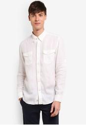Timberland white Long Sleeve Mill River Linen Cargo Slim Shirt TI063AA0SB8JMY_1