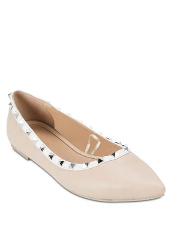 Ellesprit part timeiott 鉚釘尖頭平底鞋, 女鞋, 鞋
