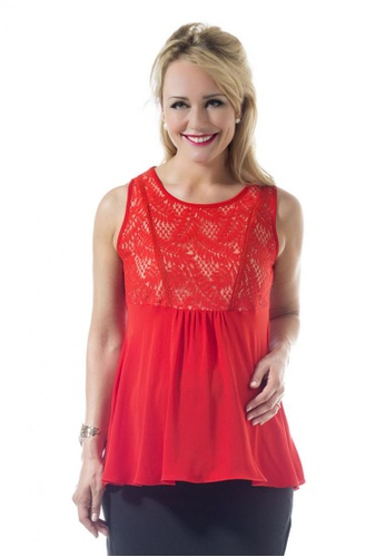 Bove by Spring Maternity red Woven Short Sleeve Carolina Empire Top Aurora Red (ITN7901) SP010AA75DHGSG_1