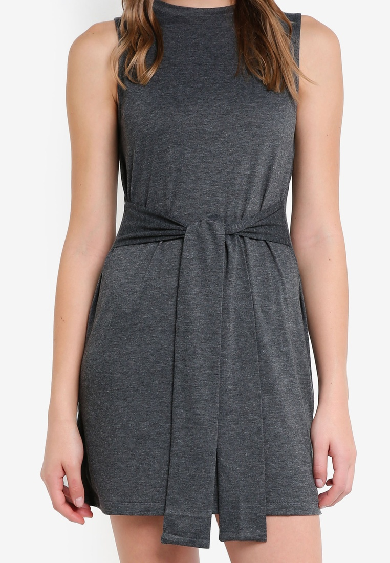 Dress Grey Marl 2 ZALORA Waist Basic pack BASICS Mini Tie Navy q18XaU