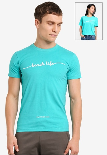 Summerism green Beach Life Typo tee - Mint 5ACC0AA0010989GS_1