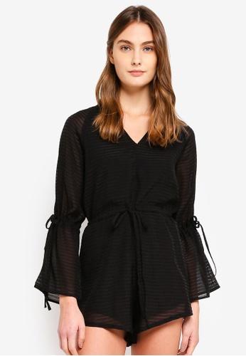 Preen & Proper black Long Sleeve Playsuit B084CAADB17080GS_1