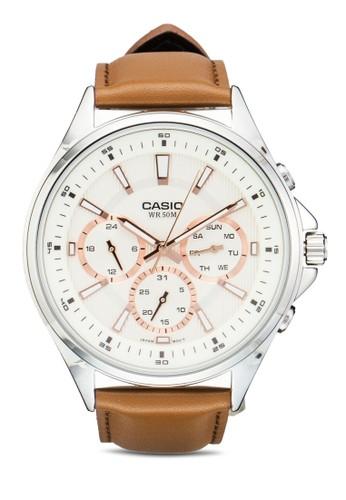 MTP-Eesprit 澳門303GL-9AVDF 三副錶盤真皮圓錶, 錶類, 飾品配件