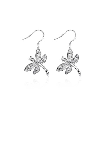 Glamorousky white Simple Dragonfly Earrings with Austrian Element Crystal B93B5AC7E2B7B3GS_1