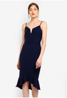 feb992cdbc Bardot navy Kristen Peplum Dress C353CAA50D83D8GS 1