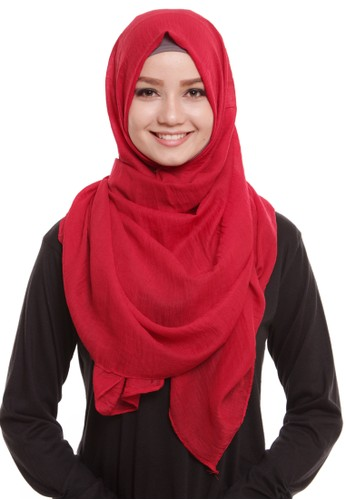 Mybamus Pashmina Texture Plain Anti Licin Red