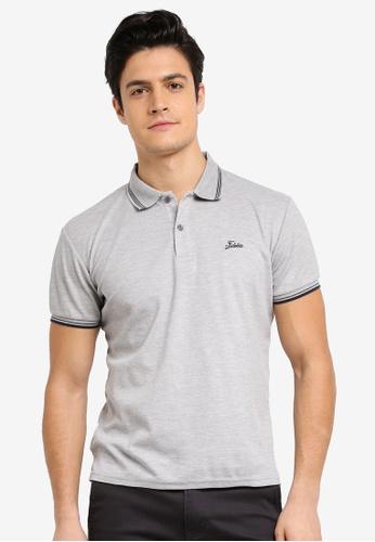 Fidelio grey Lining Collar & Sleeves Basic Polo Shirt 5B7DAAABBE0165GS_1