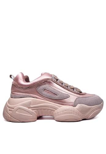 Twenty Eight Shoes 粉紅色 真皮復古擦色弧線底運動鞋B44 2CD70SH139AF70GS_1