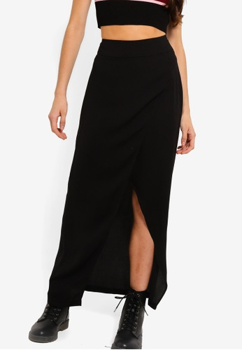 Something Borrowed black High Low Wrap Midi Skirt 65BE6AACBFDCD6GS_1