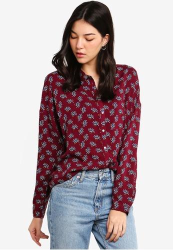 ESPRIT red Woven Long Sleeve Shirt 52DDDAA881955CGS_1