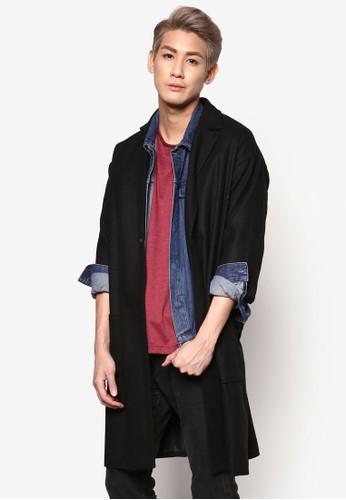 長版毛氈單鈕七分袖外esprit香港分店套, 服飾, 外套