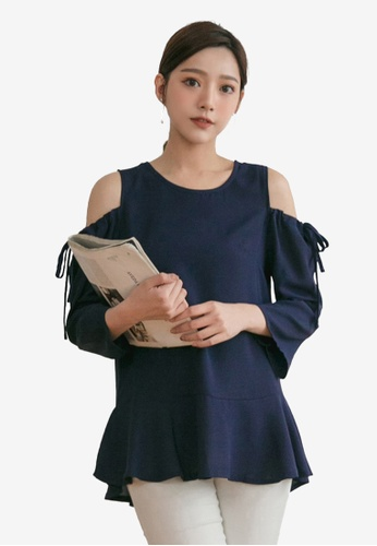 Tokichoi blue Tie Open Shoulder Top 4A966AA8C32A0AGS_1