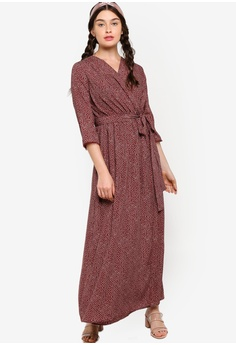929c4e5a2 Lubna brown Wrap Dress with Belt C77F7AA90DA1A7GS_1