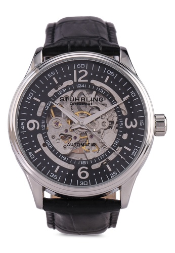Stuhrling Original black and silver Denmark 3947 Automatic Skeleton Watch 6977BAC80579BCGS_1