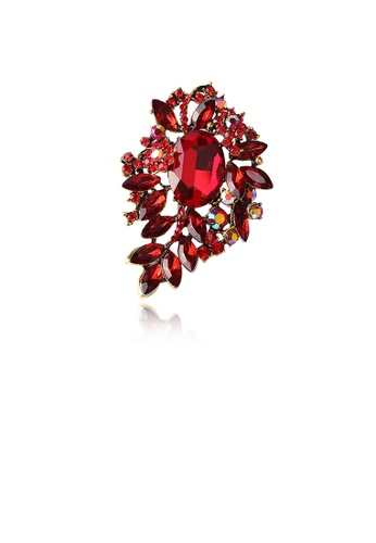 Glamorousky red Fashion Bright Plated Gold Geometric Pattern Brooch with Red Cubic Zirconia 0FCB6ACABAEB2CGS_1