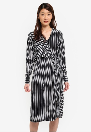 1b39c5a6aea5e Dorothy Perkins black Black Stripe Tie Front Shirt Dress 72E6CAA24991BFGS_1