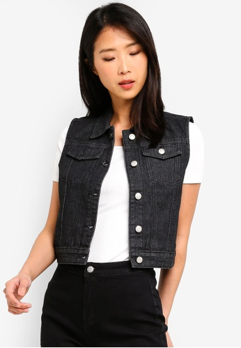 ZALORA BASICS black Basic Sleeveless Denim Jacket E23CDAAC598581GS_1