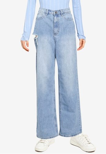 MISSGUIDED 藍色 Thigh Slash Parallel 牛仔褲 A6769AA4DFBB1CGS_1