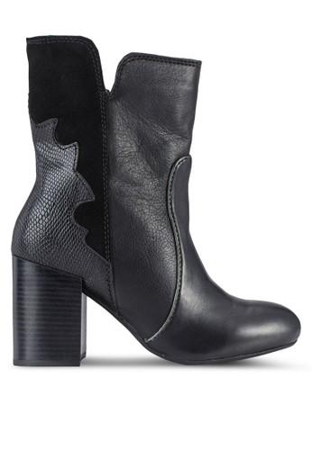 zalora taiwan 時尚購物網Arkade 混合拼接高跟短靴, 女鞋, 鞋