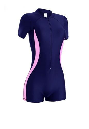 Twenty Eight Shoes navy VANSA Plus Size Long Sleeves Diving Swimsuit  VCW-Sw3011 6B10EUS7095D60GS_1