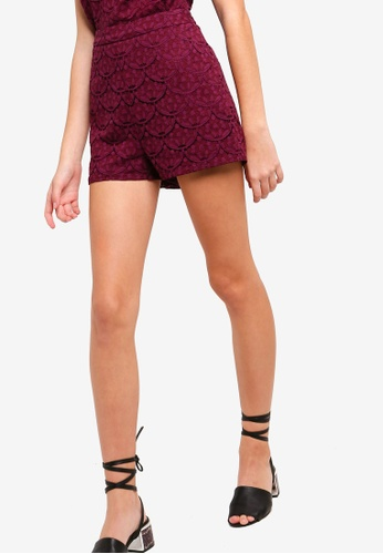 Something Borrowed red Lace Shorts 027D1AA5154B40GS_1