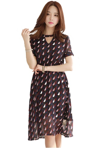 Sunnydaysweety multi Geometric Keyhole One Piece Dress K200418105 3BBDDAA37C1709GS_1