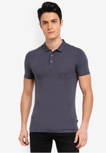 Burton Menswear London grey Dark Grey Muscle Fit Polo Shirt 665D7AAE64DE3DGS_1