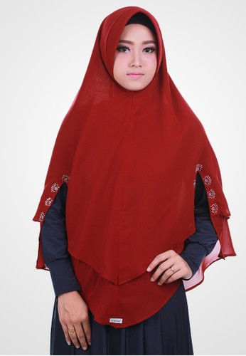 Jual Atteenahijab Atteenahijab Khimar Mafaza Merah Hati Original