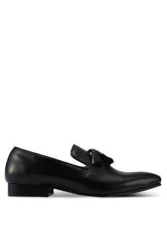 ACUTO black Leather Tassle Loafers AC283SH0SL6QMY_1