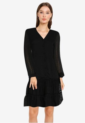 ZALORA OCCASION 黑色 荷葉滾邊雪紡紋理洋裝 BDD08AA7B5BDEEGS_1