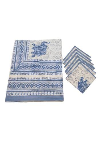 THE LOUNGE EDIT blue Kolkata Tablecloth and Napkin Set 248BFHL4194DCAGS_1