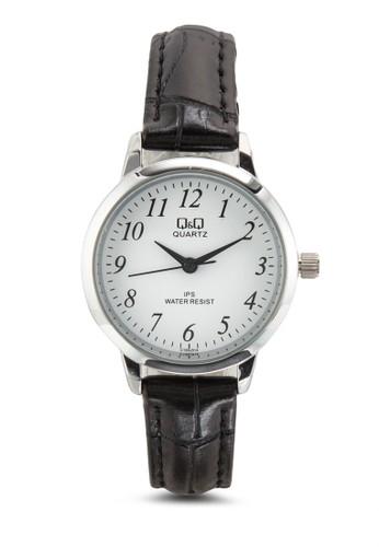 Q&Q C155J314Y 皮革圓框手錶, 錶類, 飾esprit台灣網頁品配件