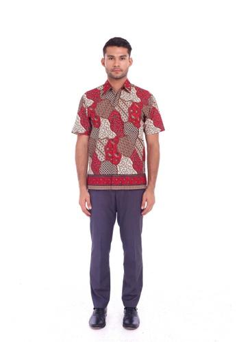 TUSCA red Eusoff Classic Batik Shirt 1AC3CAA48A88EDGS_1