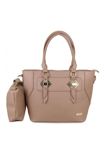 DNJ beige Jenny Tote Bag with Sling Bag DN487AC0KN4XPH_1