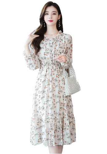 Halo beige Floral Printed Chiffon Dress 1742AAADFD2DC7GS_1