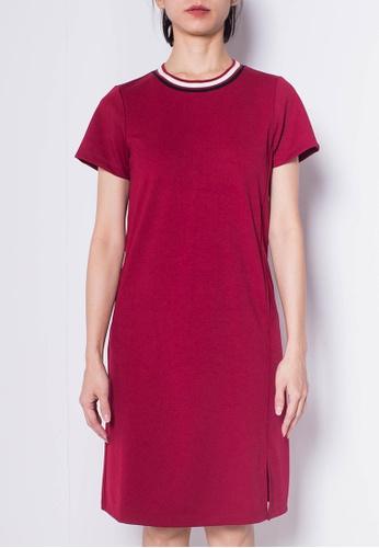 SUB red Women Short Sleeve Slip Dress 1B1C9AA18F8411GS_1
