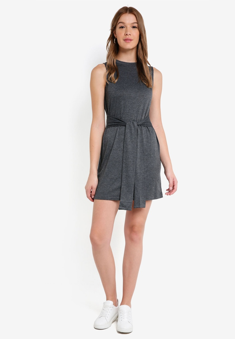 Tie Mini Dress Grey Marl Basic ZALORA Waist Navy BASICS pack 2 qEOwIO